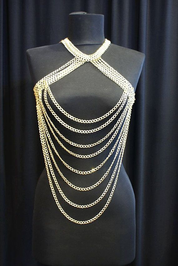 christmas gifts body chain necklace gold harness by BeyhanAkman, $87.00