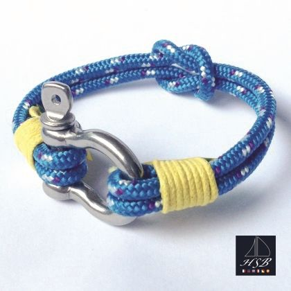 Blue paracord bracelet with yellow line and stainless steel shackle - 45 RON