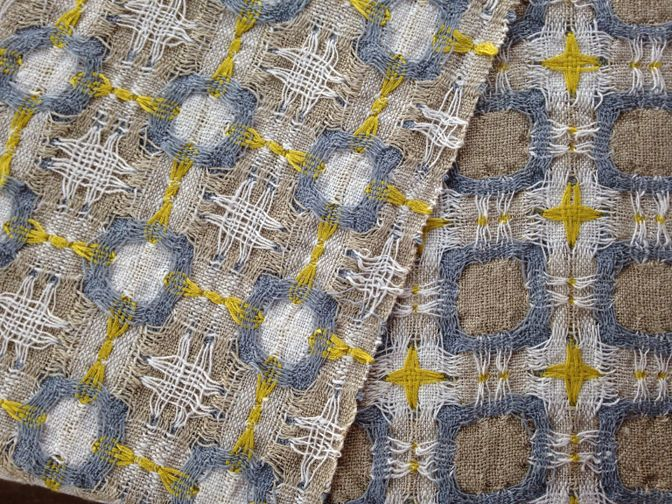 Deflected Double Weave Scarf Linen Cotton Silk Woven By