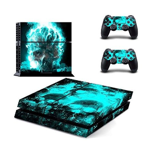 Deals on Elton Blue Skull Theme 3M Skin Cover for PS4 Console and Controllers