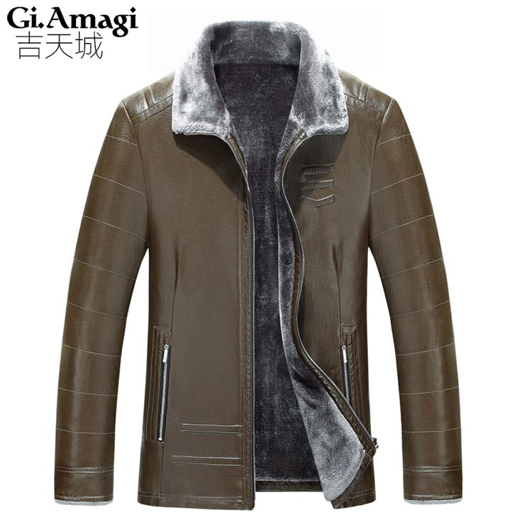 Men's Winter Leather Jackets Fur Coat Male Casual Plus Velvet Thick Pu Leather Jacket Mens Cazadora Cuero Hombre Perfecto Homme #Affiliate