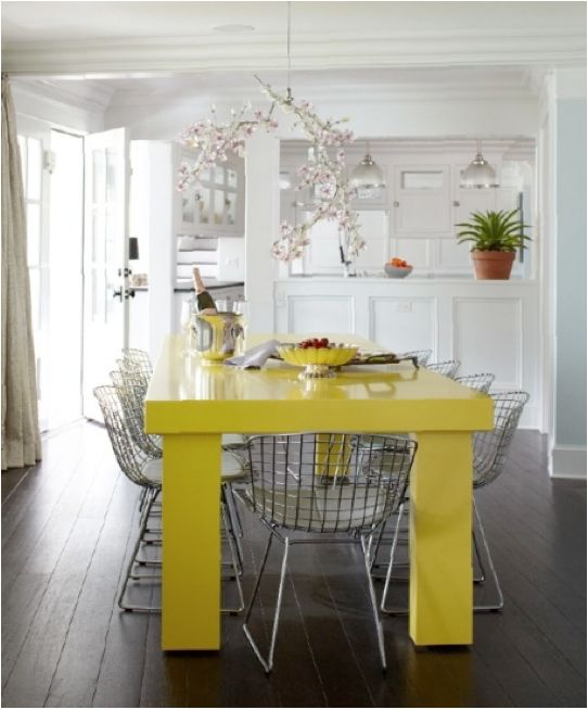 Mixing Traditional And Modern, Yellow Table, Wire Dining