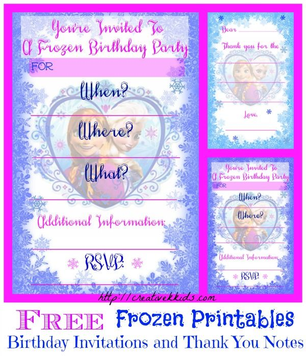 free frozen birthday party invitation and thank you printables freeprintables frozen. Black Bedroom Furniture Sets. Home Design Ideas