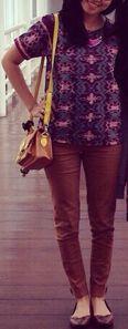 Rangrang top Brown pencil pants Satchel Bag Flat shoes