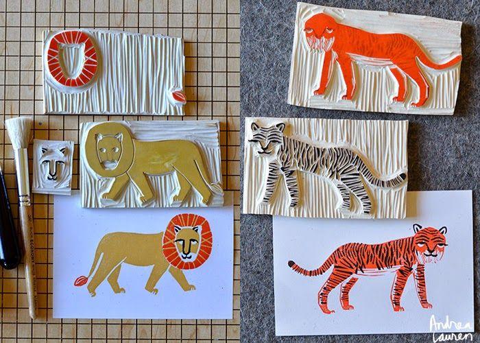 Andrea Lauren: Two and Three Color Block Print Stamps: Safari
