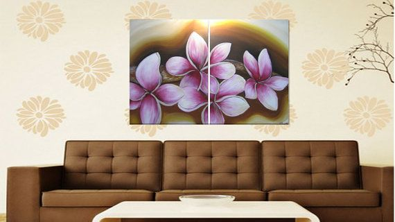 magnolia pink ORIGINAL Large Modern Acrylic artwork by SHAHARART, $200.00