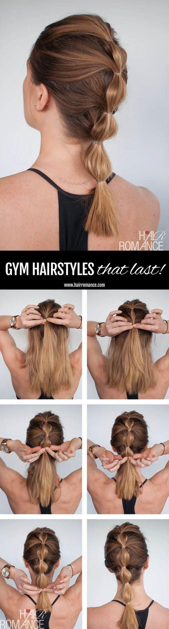 Hair Romance Gym hairstyles — bubbly ponytail hairstyle tutorial / http://www.himisspuff.com/easy-diy-braided-hairstyles-tutorials/62/