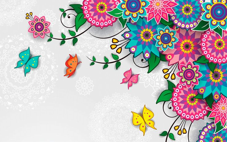 Flowers Pattern Vector Art Background Wallpaper for desktop and mobile in high resolution free download. We have best collection of Vector Flowers Wallpaper