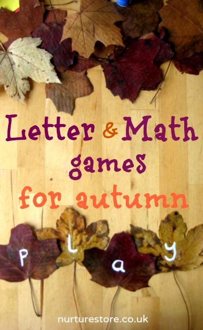 Letter & math games for autumn - love using natural materials in