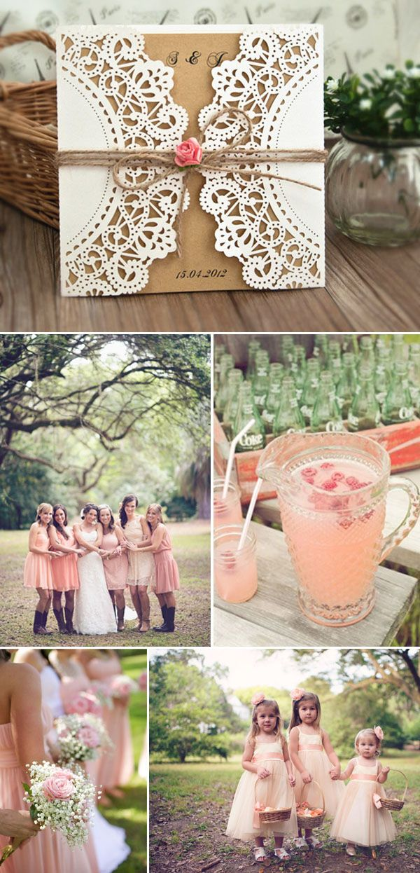 rustic laser cut and burlap wedding invitations with a touch of pink