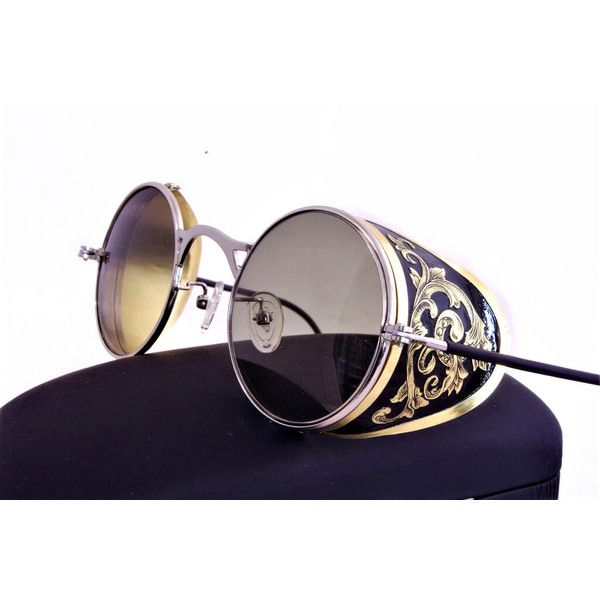 Steampunk Goggles Aviator Sunglasses Brass Side Shields Victorian... ($175) ❤ liked on Polyvore featuring accessories, eyewear, sunglasses, vintage cocktail glasses, wide sunglasses, aviator sunglasses, green sunglasses and gradient sunglasses