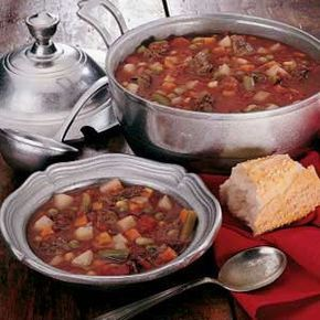 Venison Vegetable Soup Recipe -We always seem to have venison in the freezer, so I came up with the recipe for this delicious soup as a different way to use some of that meat. It makes a great lunch or light supper served with garlic bread and a salad. -Susette Reif, Liberty, Pennsylvania