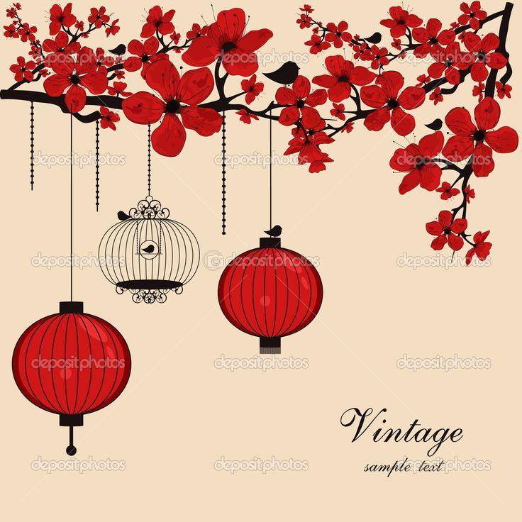 Цветочный фон с китайские фонарики и птичья клетка - Стоковая иллюстрация: 6351178