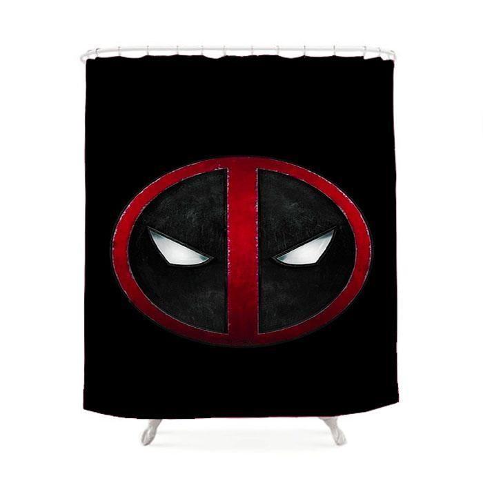 Deadpool Logo Black Shower Curtain Deadpool Logo Black Shower
