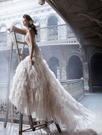 THIS RIGHT HERE IS MY ULTIMATE DREAM DRESS!!! Lazaro Bridal Gowns, Wedding
