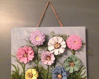 Summer Daisy Pine Cone Wreath