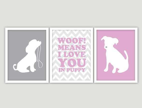 Who doesn't love puppy themed baby room decor? Charming dogs and puppies designs are perfect for a baby's bedroom.  INSTANT DOWNLOAD   3 JPEGS  puppy love nursery by giraffesnstuff, $9.99