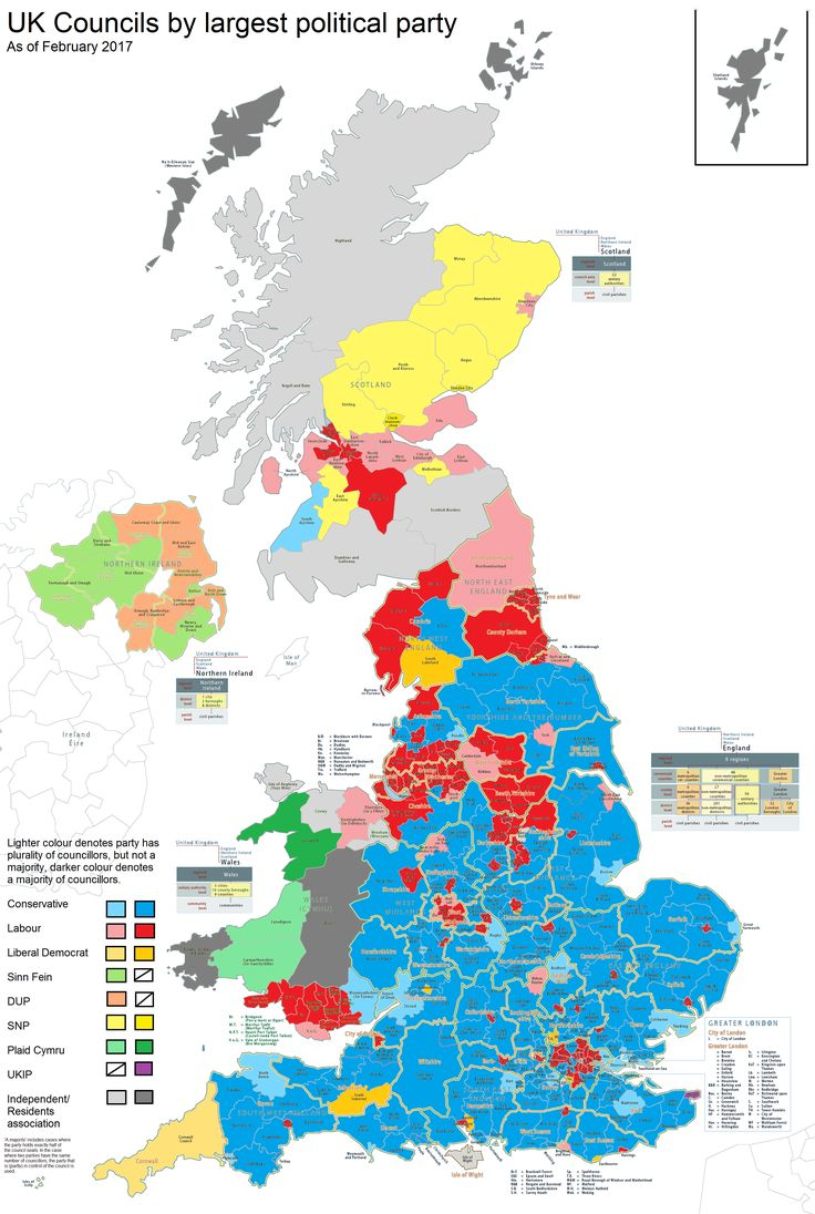 Map Of Uk Councils.Uk District Councils And Council Areas By Largest Political Party