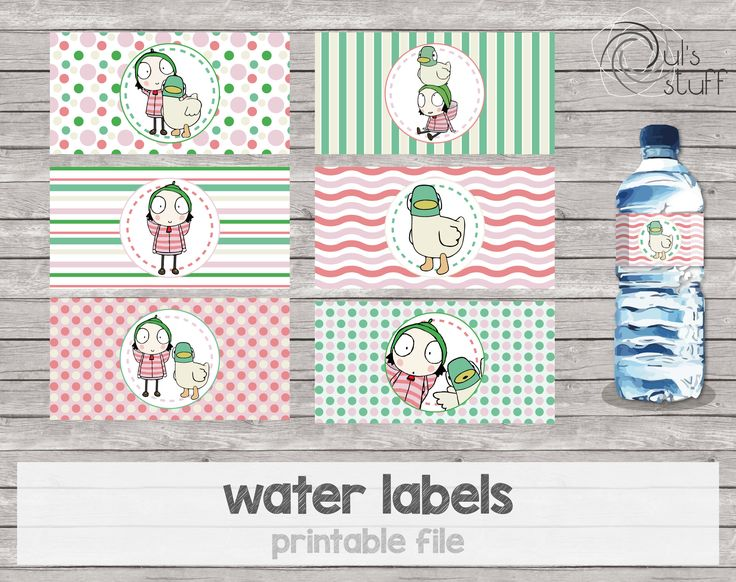 Etiquetas para botella de agua Sarah y Pato imprimibles de DulsStuff en Etsy