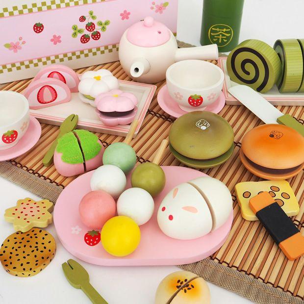 【楽天市場】マザーガーデン おままごと 野いちご 和風お茶会セットおまんじゅう・おせんべい和菓子詰め合わせ:マザーグースメイル 木製ままごと