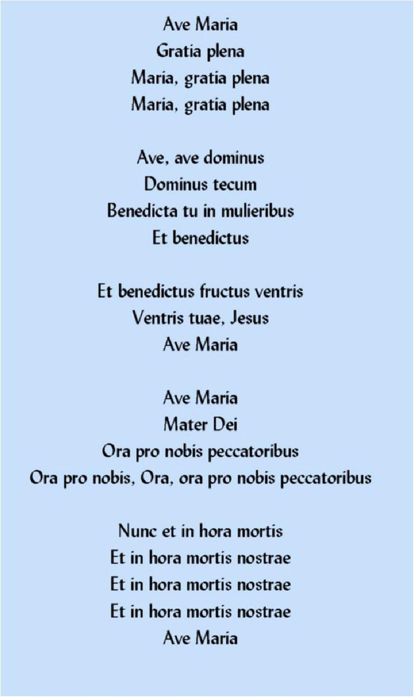 Ave Maria Gratia plena Maria, gratia plena Maria, gratia plena  Ave, ave dominus…
