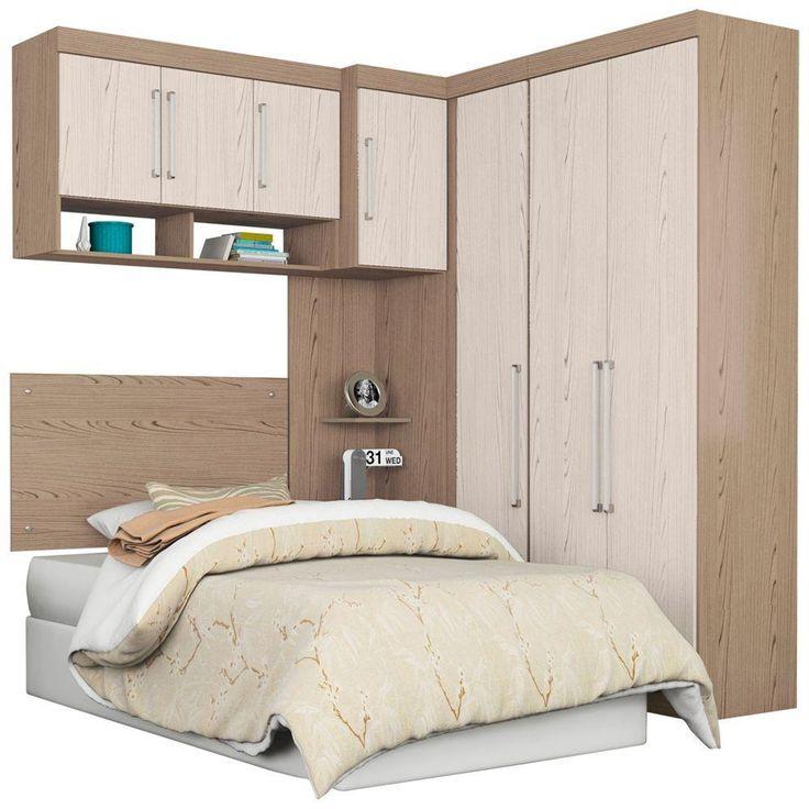 Dormitório Modulado Solteiro 5 Peças Demóbile Comp. 13  - Guarda-roupas…
