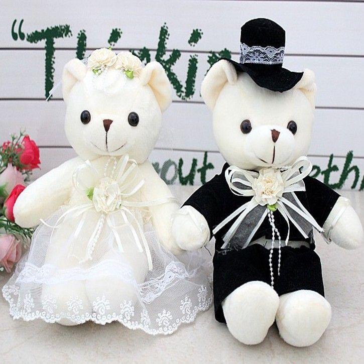 Пара мило большой свадебное платье пары счастливые медведь кукла автомобилей кукла кровать куклы свадебный подарок около 55 см