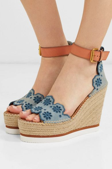 fed32e308 See By Chloé | Embroidered suede and leather espadrille wedge sandals |  NET-A-PORTER.COM