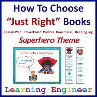 "Here is a great resource for teaching the ""hows"" and ""whys"" of selecting and reading ""Just Right"" books. This resource includes a detailed lesson plan with a PowerPoint presentation to teach students about ""Just Right"" books. During the lesson the teacher will ask and answer three important questions. What is a ""Just Right"" book? Why is it important to read ""Just Right"" books? How will I know a book is ""Just Right"" for me? Comes with posters, bookmarks and reading logs. $"