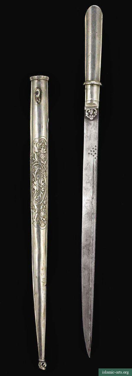 AN OTTOMAN SILVER DAGGER (KARD) AND SCABBARD, TURKEY, PERIOD OF MAHMUD II, CIRCA 1810