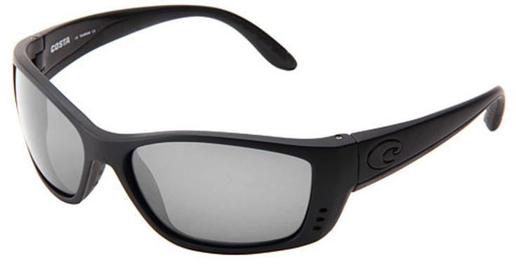 Costa Del Mar Sunglasses - Fisch- / Frame: Blackout Lens: Polarized Silver Mirror 580Plastic Polycarbonate. Style: Wrap. Frame: Plastic. Lens: Polarized Polycarbonate. Size: 63.5 mm x 18 mm x 130 mm. Gender: Male.