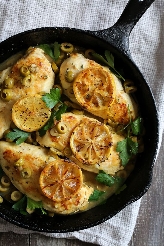 Bright and flavorful, pan seared chicken breasts get tossed with green olives, lemon and fresh herbs then is finished in the oven. Perfect served with bread or a green salad on the side.