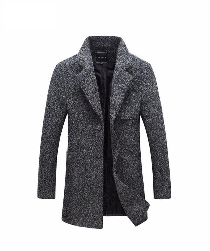 Wool Blend Overcoat For Men Size M-5XL