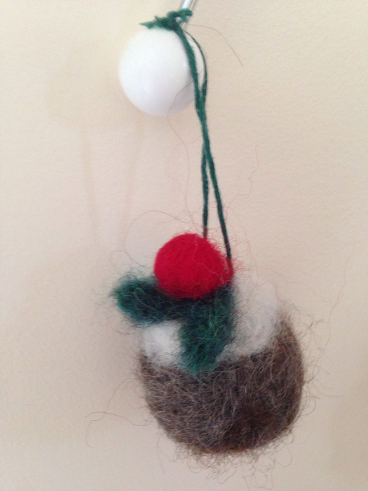 Mini Needle Felted Christmas Pudding