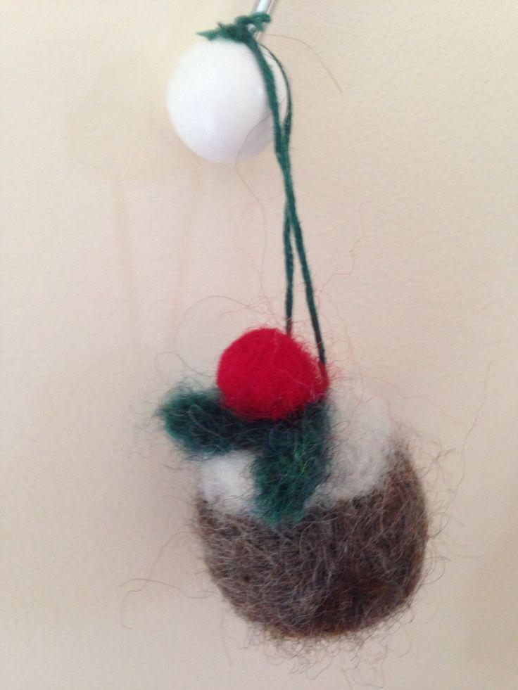 Mini Needle Felted Christmas Pudding