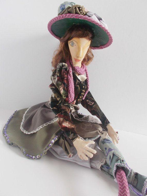 Ophelia a handmade cloth art doll brown hair by mademeathens