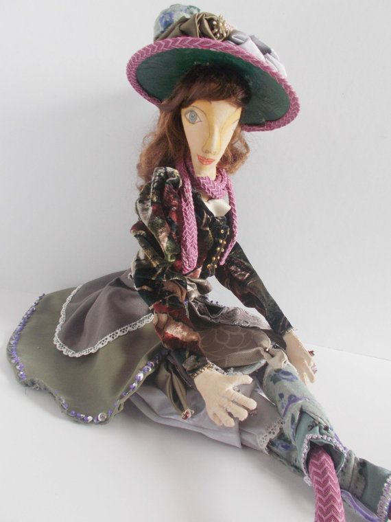 Ophelia a handmade cloth art doll brown hair by mademeathens