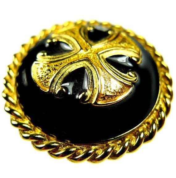 Pulsanti, nero e oro smalto croce MALTESE