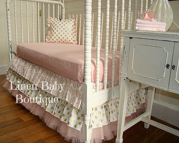 Ready To Ship. Pink and Gold Tulle Bumperless Baby Bedding. Set Includes, Layered Skirt, Metallic Gold Dot, and Accent Pillow.