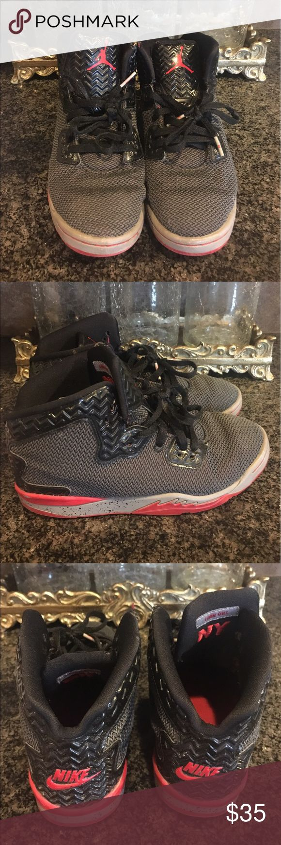 Kids Jordan shoes in size 4 Kids black and red Jordan boys shoes by Nike in size 4 Nike Shoes Sneakers
