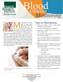 "Cover of the Diabetes Research Institute's brochure, ""Blood Glucose Monitoring,"" which provides tips on checking blood sugar levels."