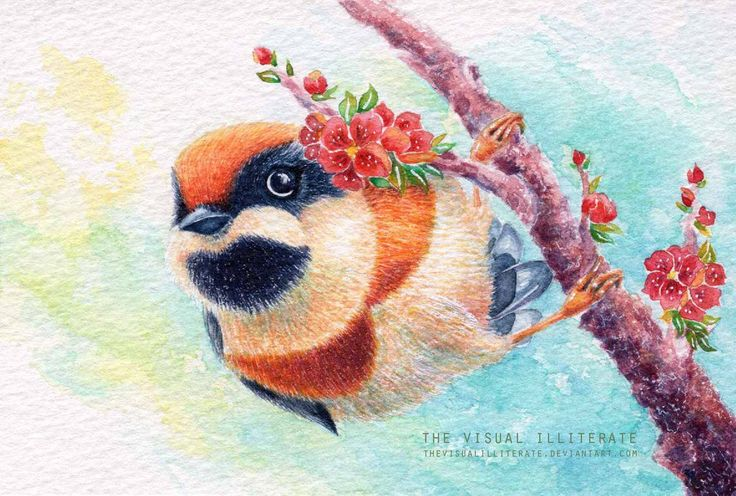 "Media: watercolor on Saunders Waterford watercolor paper (300g) Size: 4""x6"" Bird Name: Red-Headed Tit or Black-Throated Tit  Binomial Name: Aegithalos Concinnus  Others in the Series: &nb..."
