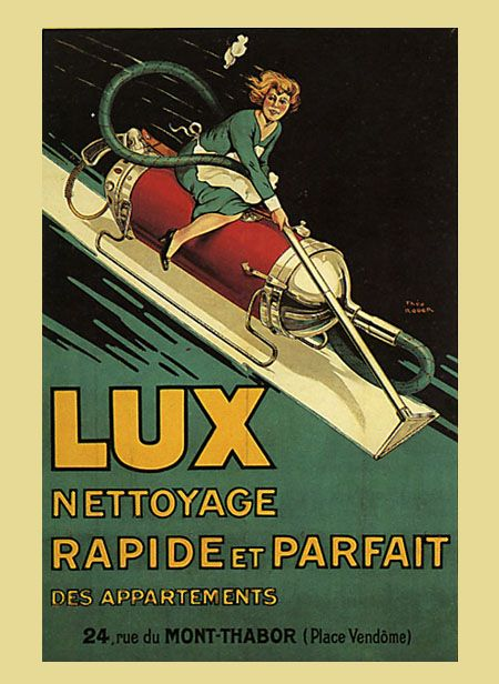 Lady Riding Lux Vacuum Cleaner France French Vintage Poster Repro FREE S/H