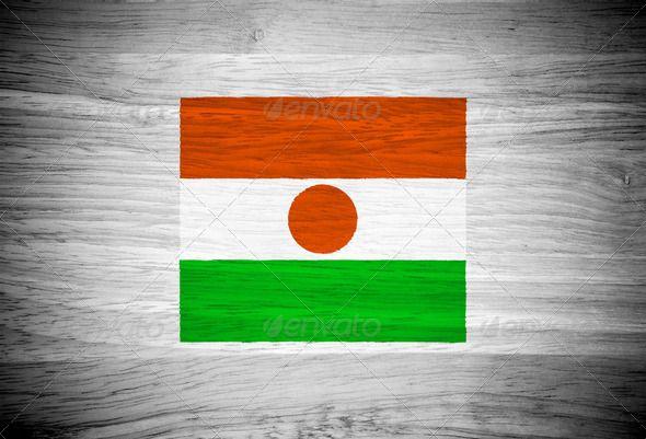 Niger flag on wood texture  #photodune