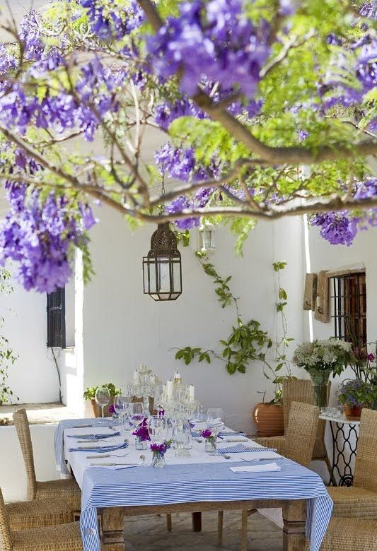 Andalucia, Spain I would love to go there, stay in this house and go to the beach.: Outside Dining, Rustic Styles, Backyard Patio, Jacaranda Trees, Spanish Styles, Rustic Interiors, Country House, Outdoor, Purple Flower