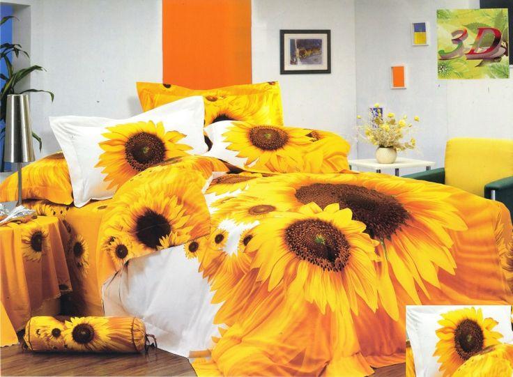 Pościel bawełniana biała w żółte słoneczniki