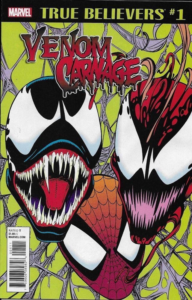 Marvel Venom Carnage Comic Issue 1 True Believers Classic Reprint Comics Carnage Spiderman