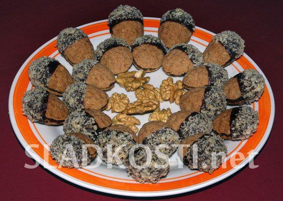 Slepované ořechy s čokoládou
