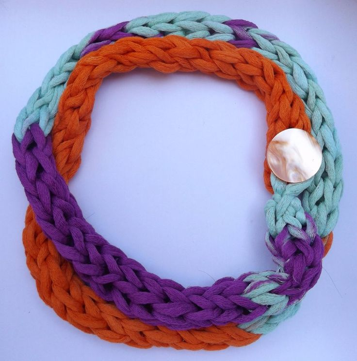Finger Knitted rope scarf in trendy colors