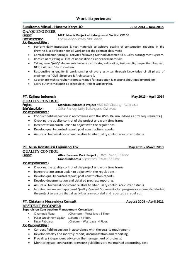 Resume Format Quality Engineer Resume Format Engineering Resume Engineering Resume Templates Mechanical Engineer Resume